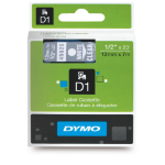 DYMO LABEL TAPE DYMO D1 12MMX7M WHITE ON CLEAR(EACH)