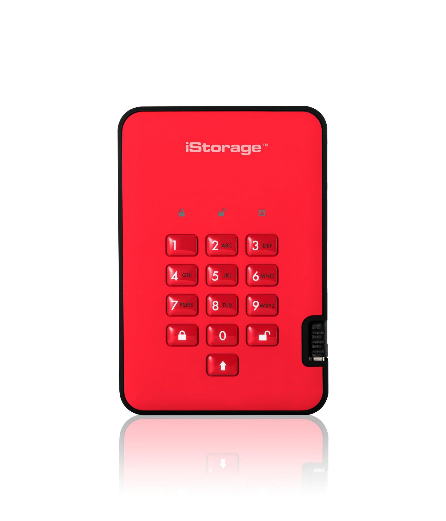 iStorage diskAshur2 256-bit 5TB USB 3.1 secure encrypted hard drive - Red IS-DA2-256-5000-R