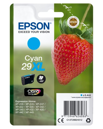 Epson C13T29924012 (29XL) Ink cartridge cyan, 450 pages, 6ml