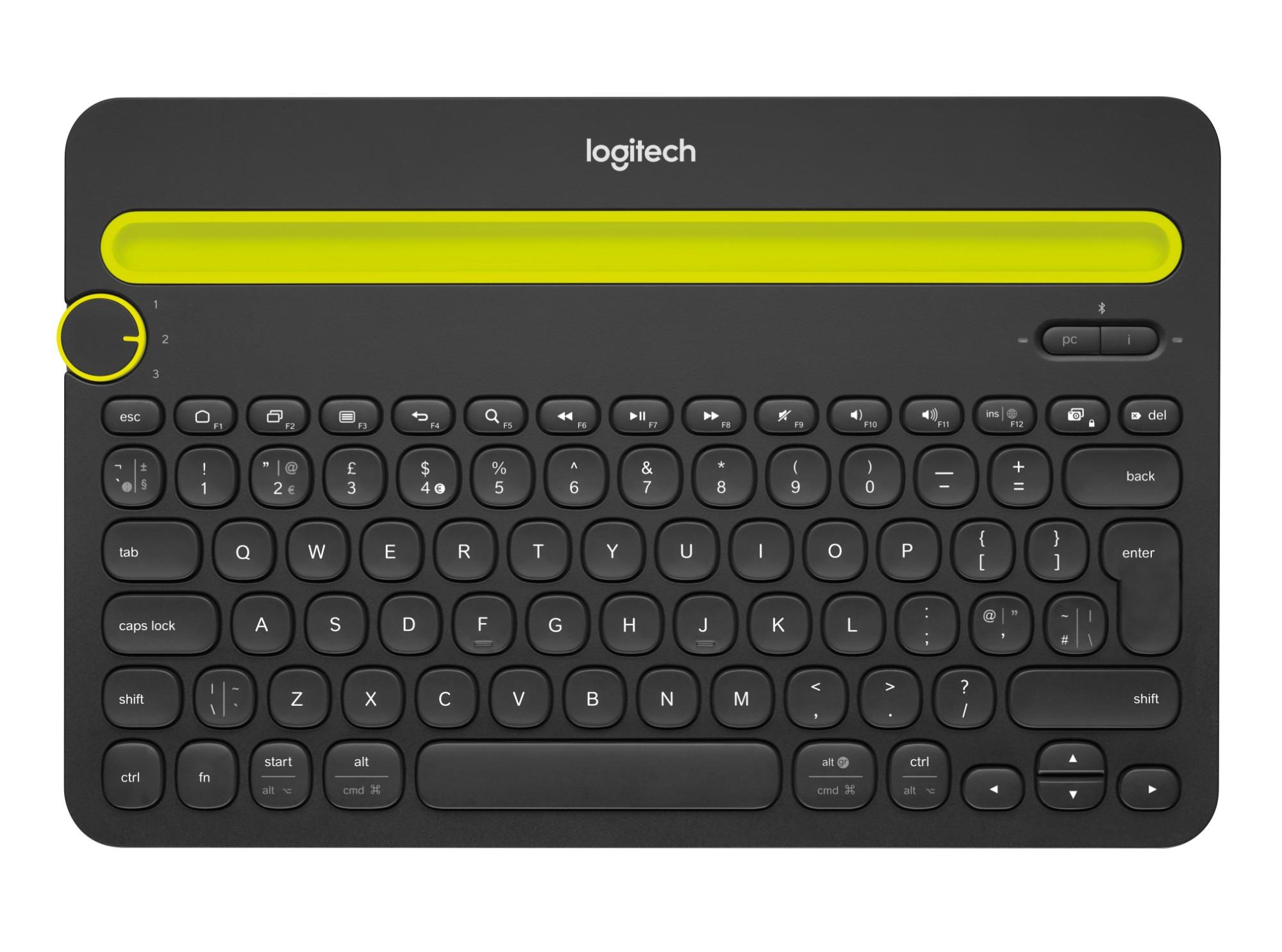 Logitech K480 Bluetooth QWERTY US International Zwart, Geel toetsenbord voor mobiel apparaat