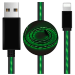 Generic Astrotek LED Light Up Visible Flowing USB Lightning Data Sync Charger Cable Green Charging Cord for