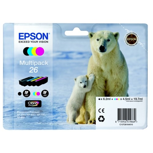 Epson C13T26164511 (26) Ink cartridge multi pack, 220pg + 3x300pg, 6ml + 3x5ml, Pack qty 4