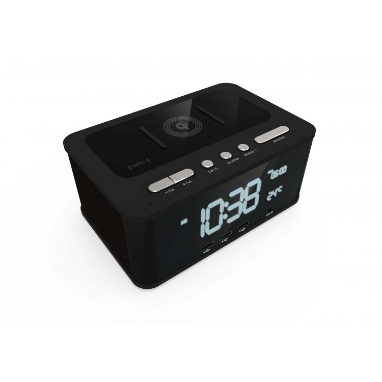LASER Qi Wireless Charging Alarm Clock Bluetooth Speaker