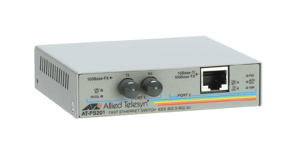 Allied Telesis AT-FS201 2 Port Fast Ethernet Speed/Media Converting Switch 100Mbit/s network media converter