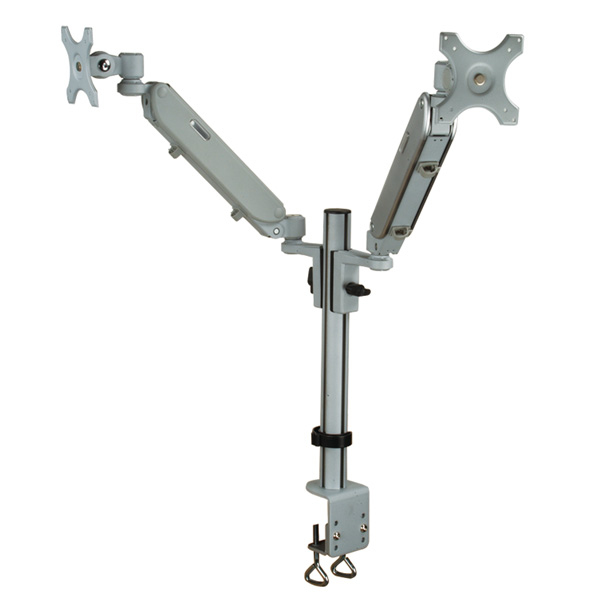 VALUE DUAL LCD MONITOR ARM, DESK CLAMP, 4 JOINTS, HEIGHT ADJUSTABLE SEPARATELY, GAS SPRING