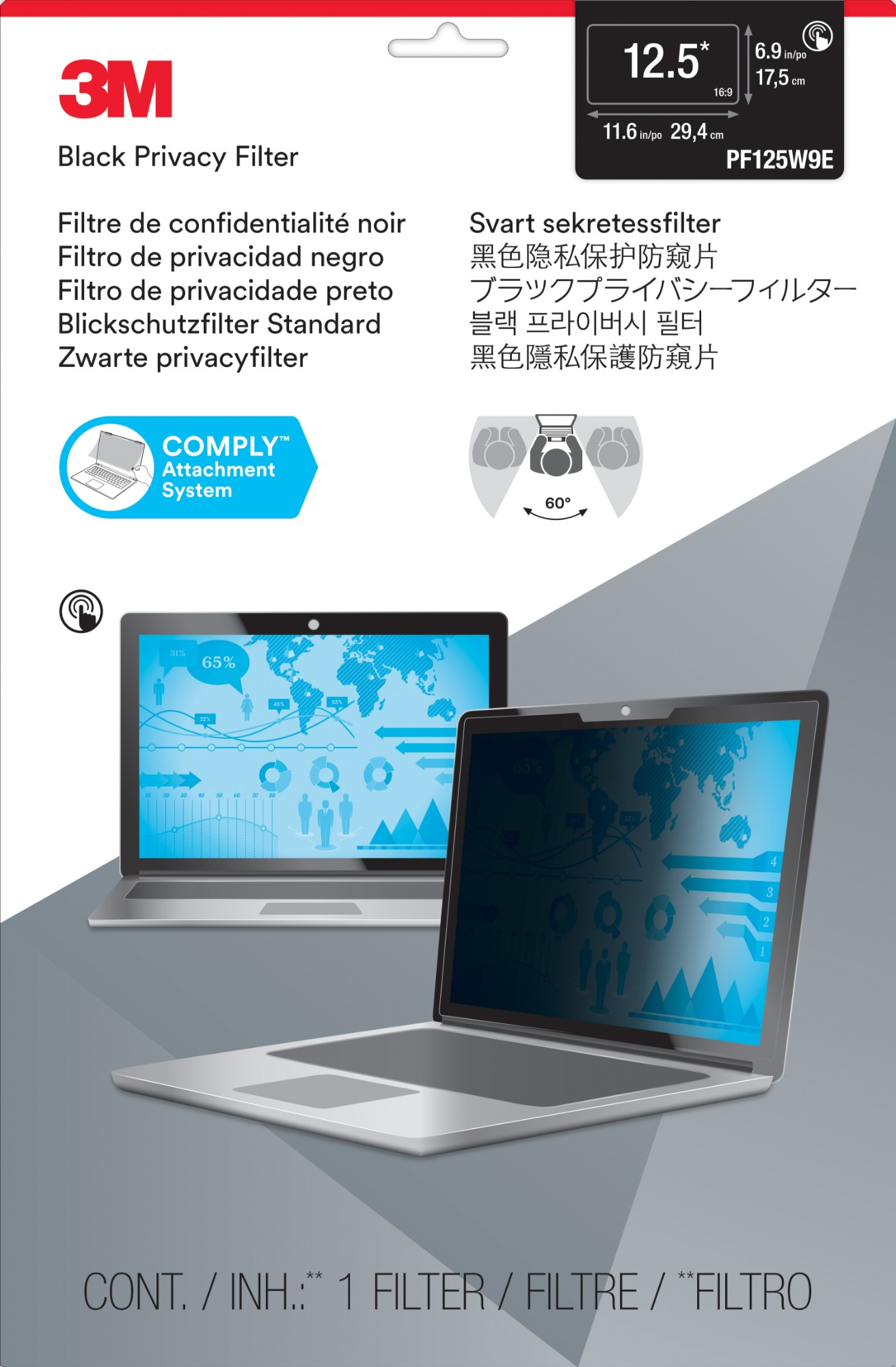 Privacy Flt 12.5in Ws 16:9 Edge Tch Lapt