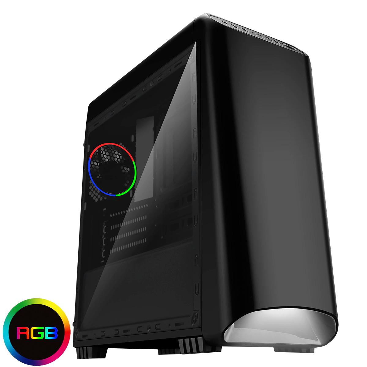 CIT Legend Black MATX RGB Gaming Case With Full Acrylic Side Window