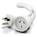 ALOGIC 2m Aus 3 Pin Mains Power Extension Cable WHITE   Male to Female