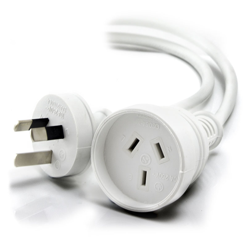 ALOGIC 3m Aus 3 Pin Mains Power Extension Cable WHITE   Male to Female