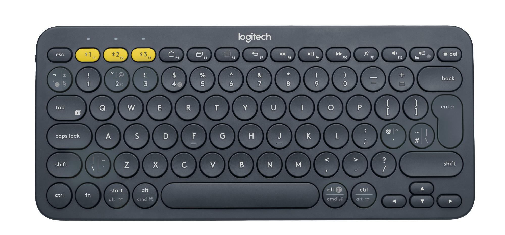 Logitech K380 teclado Bluetooth QWERTY Pan Nordic Gris
