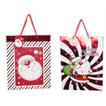 XMAS GIFT BAG XMAS MEDIUM 23X18X10CM SANTA RED FOIL ASSORT DESIGNS(EACH)