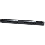 Intellinet Patch Panel, Cat6, UTP, 16-Port, 1U, Black
