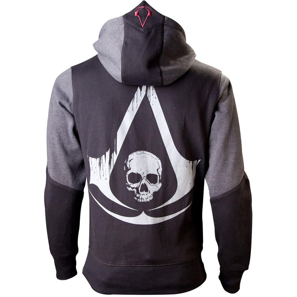 ASSASSIN'S CREED Black Flag Men's Full Length Zipper Hoodie, Large, Black/Grey (HD989018ASC-L)