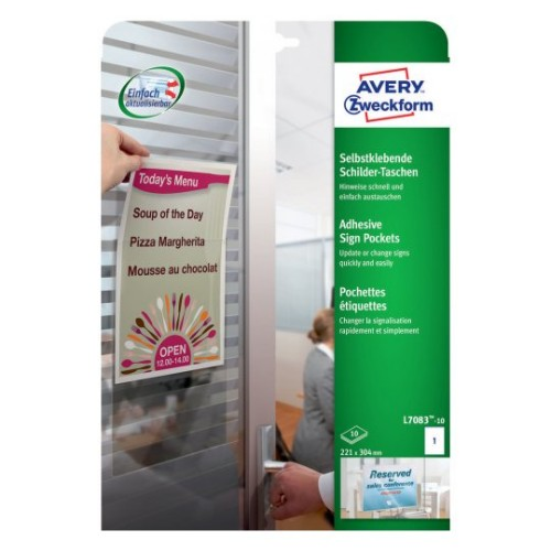 Avery L7083-10 self-adhesive label Transparent Rectangle Permanent 10 pc(s)