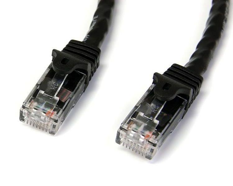 StarTech.com 0.5m Black Gigabit Snagless RJ45 UTP Cat6 Patch Cable - 0.5m Patch Cord