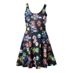 Nintendo Super Mario Bros. Female Characters & Icons Sleeveless Dress, Extra Small, Black (FD010706NTN-XS)