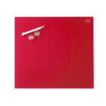 Nobo Diamond Glass Board Magnetic Red 450x450mm Retail Pack