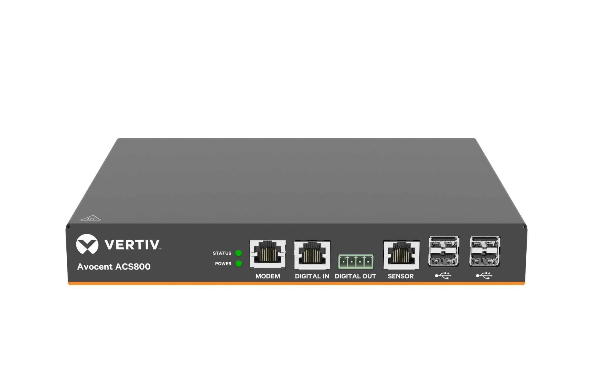 Vertiv Avocent 8-Port ACS800 Serial Console with analog modem, external AC/DC Power Brick - Jumper cord: Plug C14 to connector C13