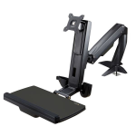"StarTech.com Sit Stand Monitor Arm - Desk Mount Adjustable Sit-Stand Workstation Arm for Single 34"" VESA Mount Display - Ergonomic Articulating Standing Desk Converter with Keyboard Tray"