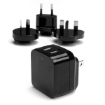StarTech.com Dual-port USB wall charger - international travel - 17W/3.4A - black