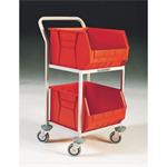 FSMISC 2 BIN STORAGE TROLLEY RED 321292