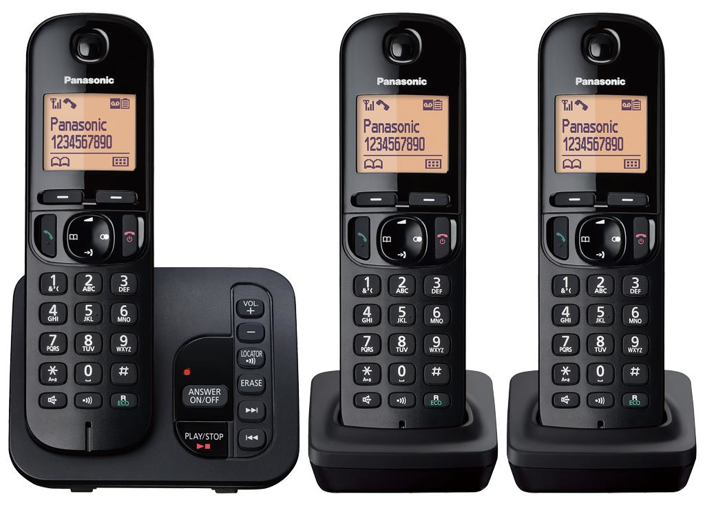 Cordless Dect Phone KX-TGC223EB with TAM and Call Blocking - Trio/ Black