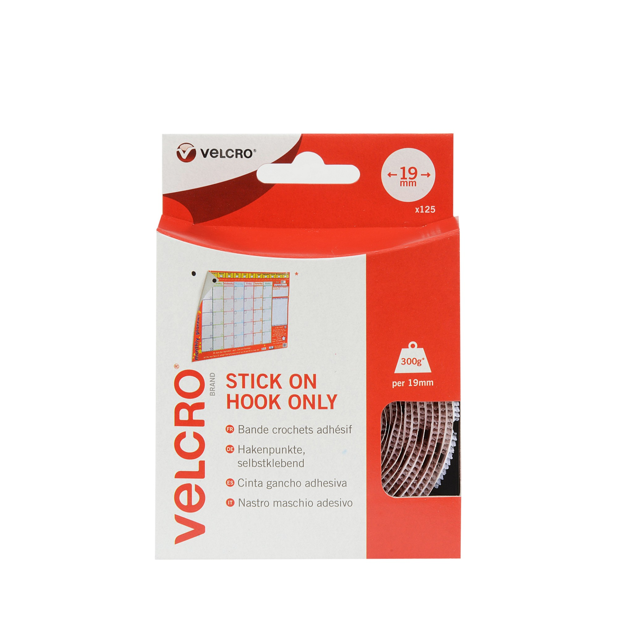 VELCRO 125 White Hook Only Stick On Coins 19mm