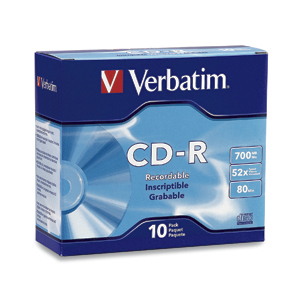 Verbatim CD-R 80MIN 700MB 52X Branded 10pk Slim Case CD-R 700MB 10pc(s)