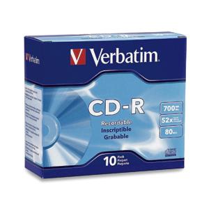 Verbatim CD-R 80MIN 700MB 52X Branded 10pk Slim Case CD-R 700MB 10pc(s)
