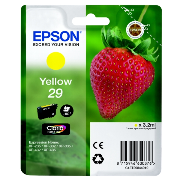 Epson C13T29844010 (29) Ink cartridge yellow, 180 pages, 3ml
