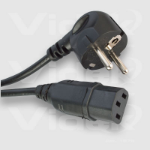 Videk IEC F to Euro Schuko 2 Pin M 2m Black power cable
