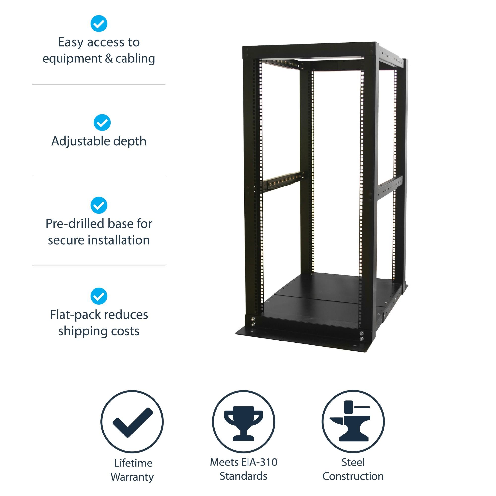 Startech Com 25u Adjustable Depth 4 Post Open Frame Server Rack Cabinet