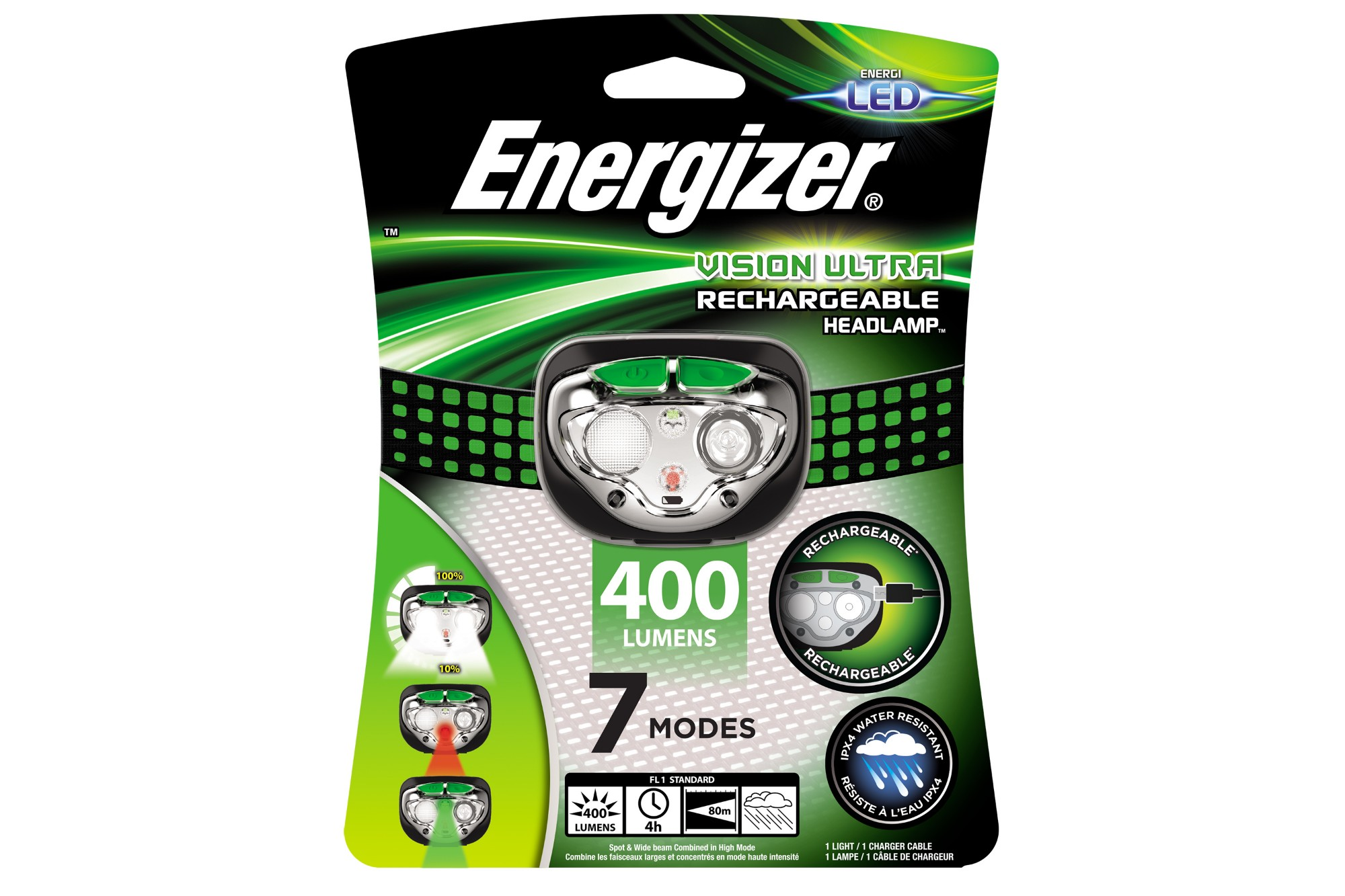 Energizer Vision LED USB Rechargeable Head Torch