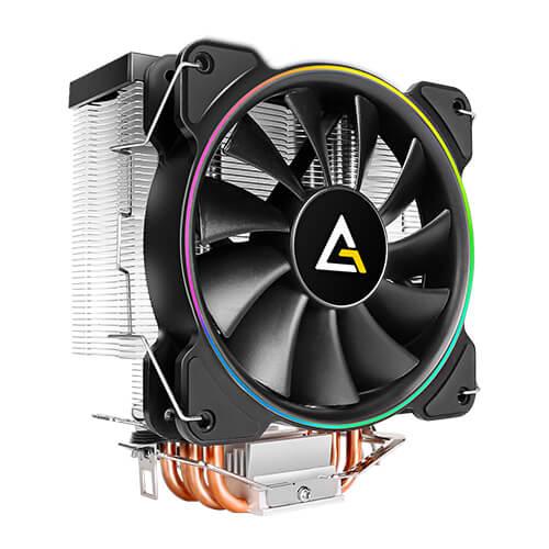 Antec A400 RGB Processor Cooler 12 cm Black, Copper, Metallic