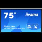 "iiyama ProLite TE7503MIS-B1AG touch screen monitor 189.2 cm (74.5"") 3840 x 2160 pixels Multi-touch Multi-user Black"
