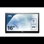 "AOC Style-line I1659FWUX computer monitor 39.6 cm (15.6"") Full HD LCD Flat Matt Black"