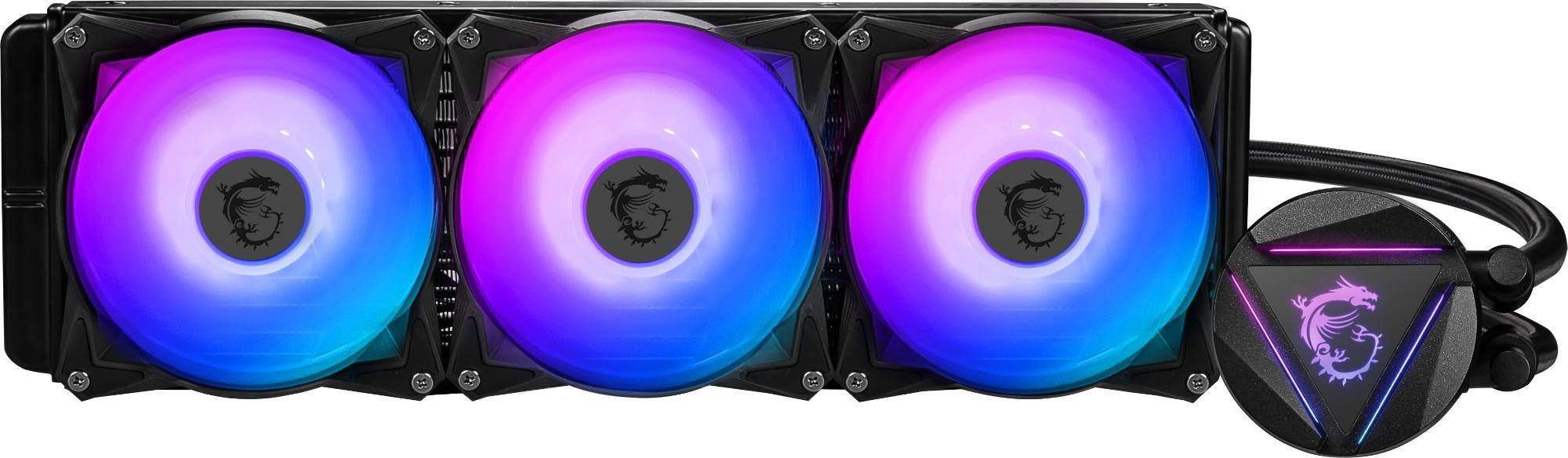 MSI MAG CORELIQUID 360R CPU AIO Cooler ' 360mm Radiator, 3x 120mm ARGB PWM Fan, Adjustable ARGB Dragon CPU Mount, Compatible with Intel and AMD Platforms'