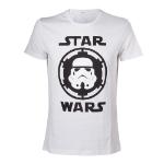 Star Wars Adult Male Stormtrooper Helmet Emblem T-Shirt, Large, White (TS080701STW-L)