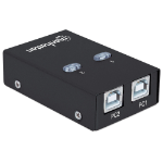 Manhattan USB-A Automatic Sharing Switch, 2x USB-B Ports, 480 Mbps (USB 2.0), Dual Control (Auto-Sensing or Manual), Bus Powered, Hi-Speed USB, inc 1x 1.5m USB-A to USB-B cable, Black, Three Year Warranty, Blister