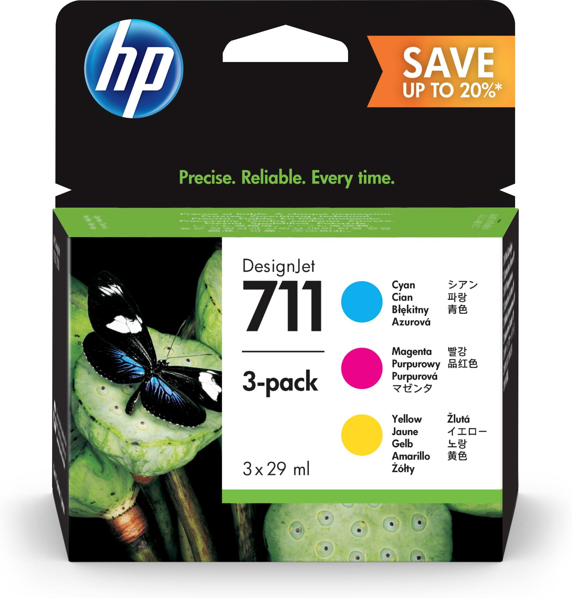 HP 711 Original Cian, Magenta, Amarillo Rendimiento estándar