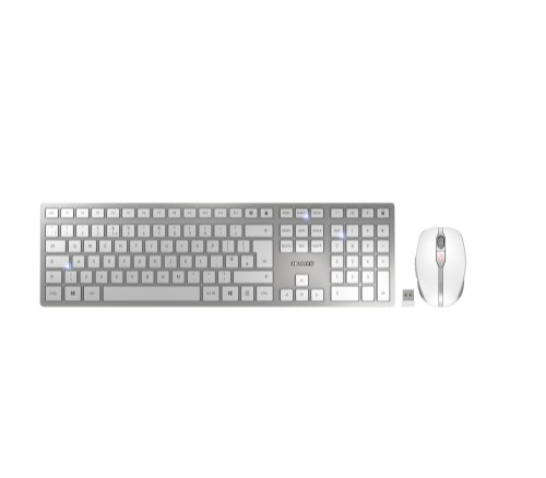 CHERRY DW 9000 SLIM keyboard RF Wireless + Bluetooth UK English Silver,White