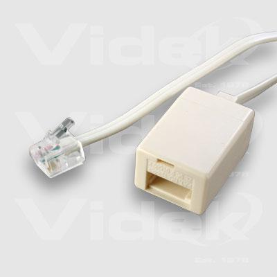 Videk BT Female to US RJ11 Male Modular Cable 2m