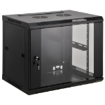 "Intellinet Network Cabinet, Wall Mount (Standard), 9U, 450mm Deep, Black, Assembled, Max 60kg, Metal & Glass Door, Back Panel, Removeable Sides, Suitable also for use on a desk or floor, 19"", Three Year Warranty"