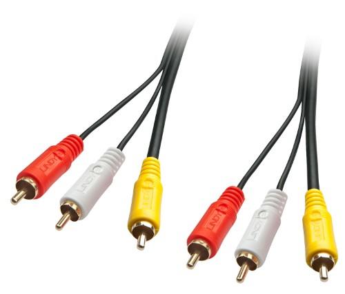 Lindy 35691 composite video cable 2 m 3 x RCA Black