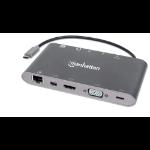 Manhattan USB-C 9-Port Hub/Dock/Converter, USB-C to HDMI, USB-C(inc PD), Mini DisplayPort, VGA, 3x USB-A, Gigabit RJ45 and 3.5mm Audio with SD Card Reader, 5 Gbps (USB 3.2 Gen 1); HDMI Ultra HD,1080p@60Hz or 3840x2160p@30Hz(4K), VGA HD 1080p video; Male t