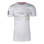 Nintendo SNES Controller Super Power T-Shirt, Male, Extra Large, Grey (TS241058NTN-XL)