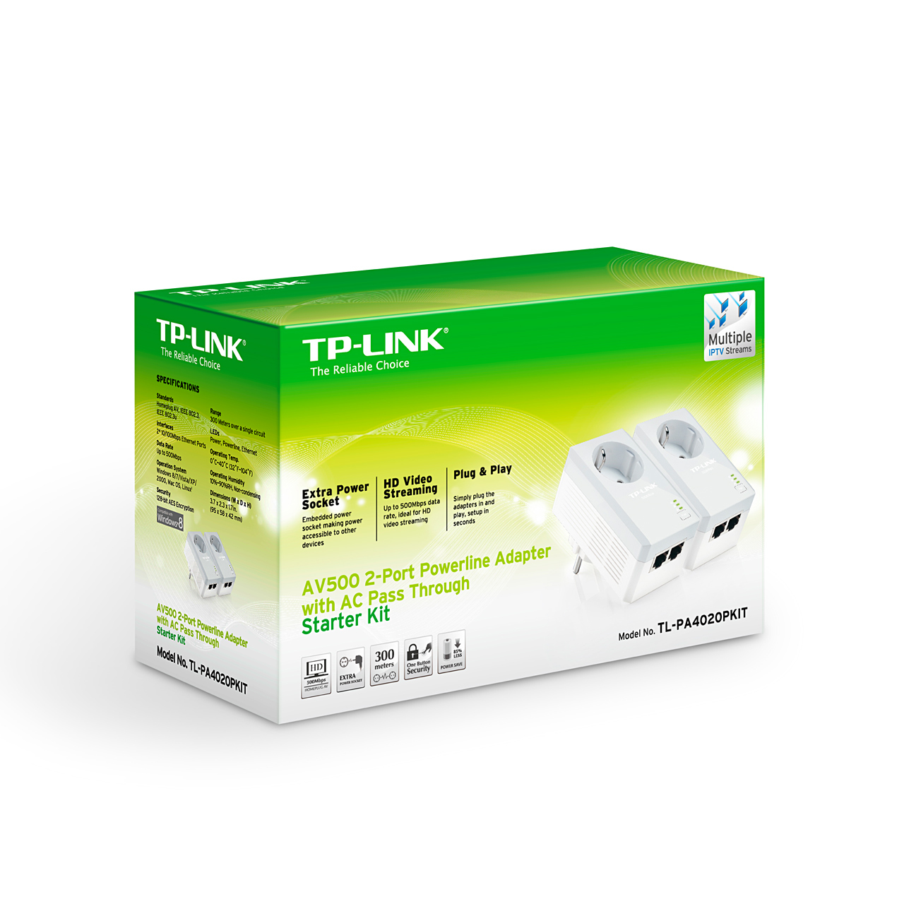 Tp Link Tl Pa4020pkit Ethernet Lan White 2pcs Powerline Network Using Homeplug For Home Media Streaming More Views