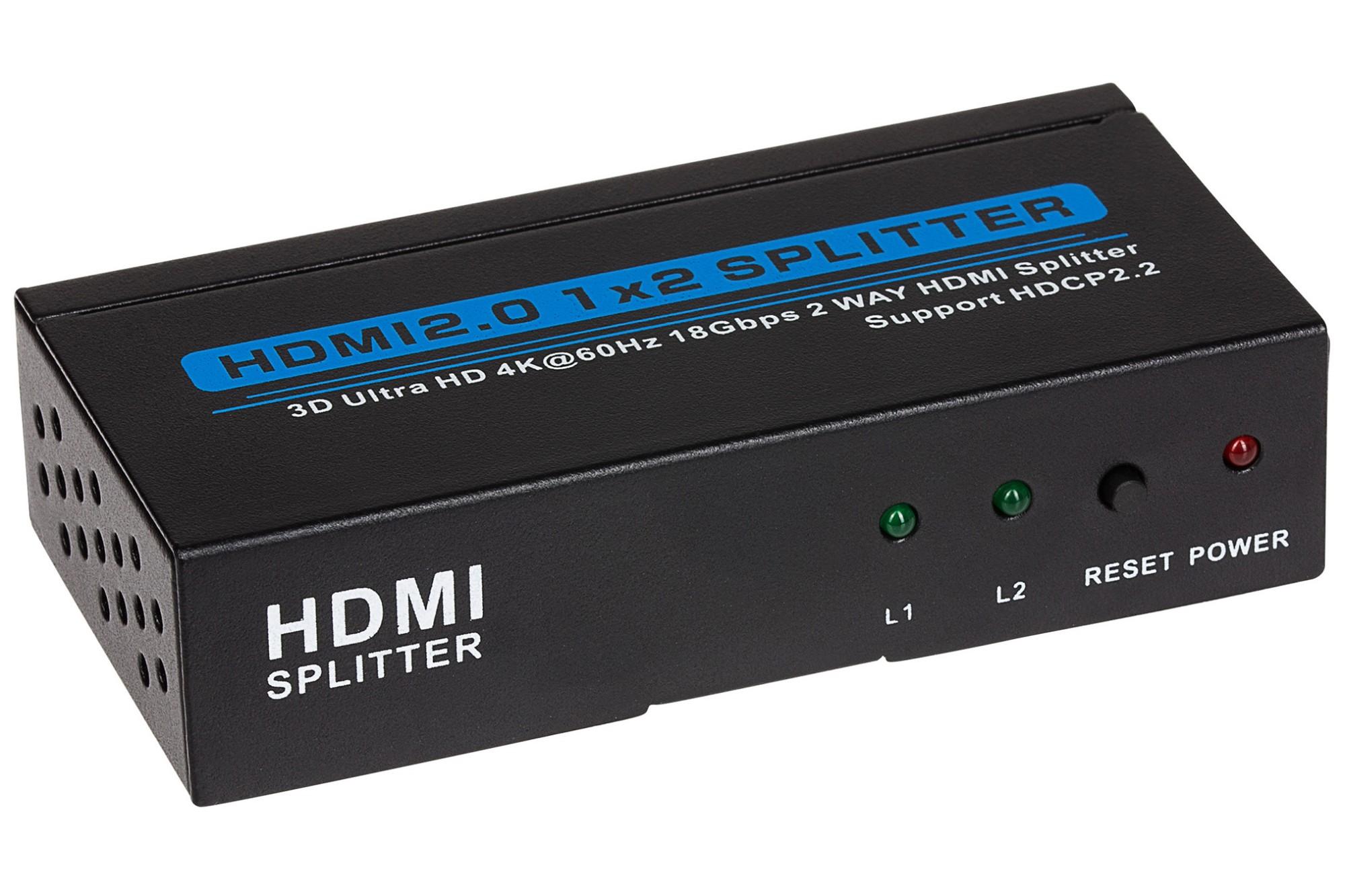 Nikkai 2-Port HDMI Splitter 4K 60Hz - Black