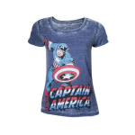 Marvel Captain America Adult Female Super-Powered Solider Faded T-Shirt, Small, Blue (TS050810MAR-S)
