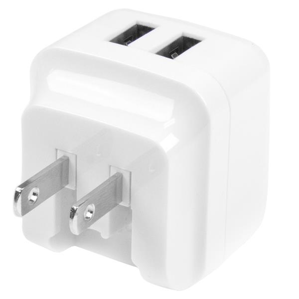 StarTech.com Dual-port USB wall charger - international travel - 17W/3.4A - white
